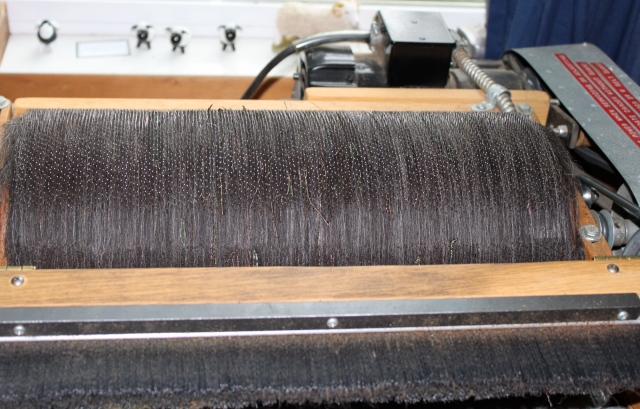 peacock wool on carder