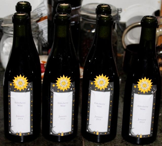 Elderberry wine bottles