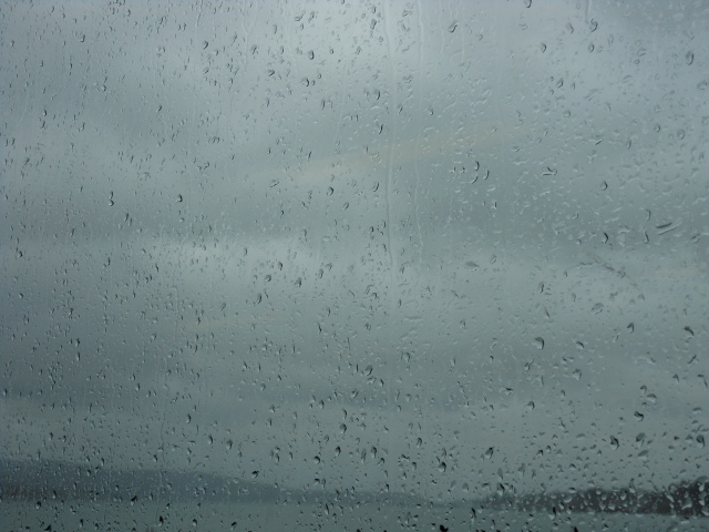 rain on ferry window