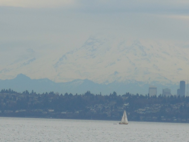 sailboat, settle skyline and mount rainier