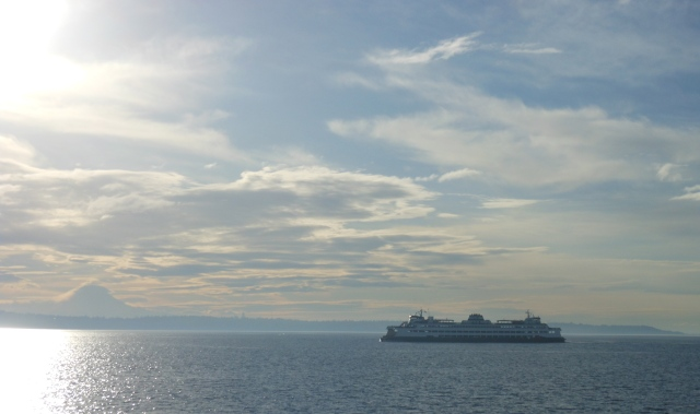 SUNSHINE, MOUNT RAINIER AND FERRY