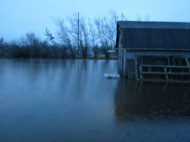 flooded hay barn
