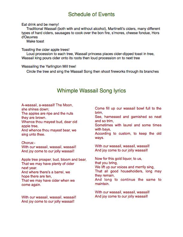 Wassail schedule and lyrics
