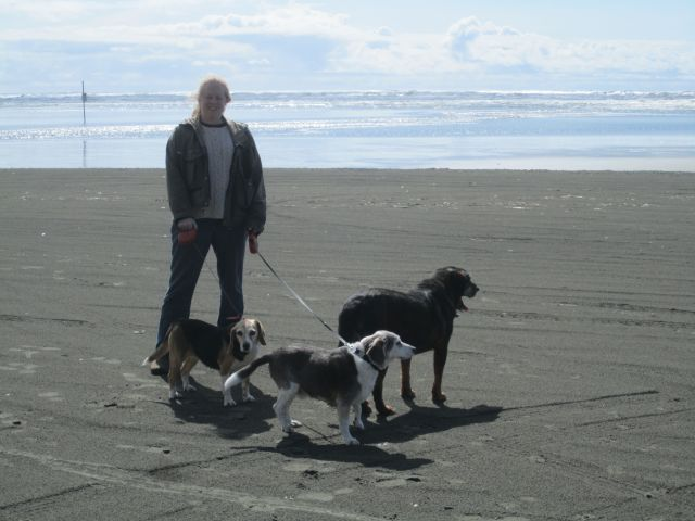 Donna and dogs on Copalis beach