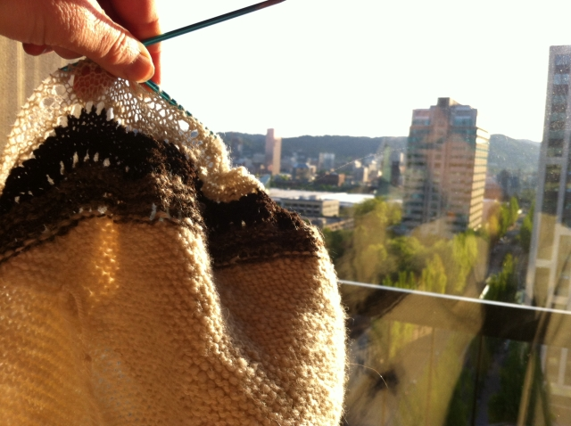 knitting hap in Portland