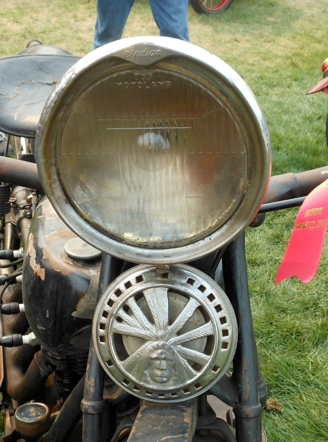 Indian headlight and emblem