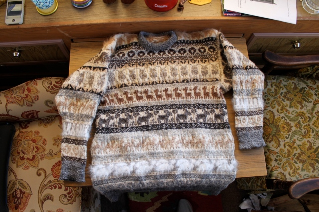 sweater on table