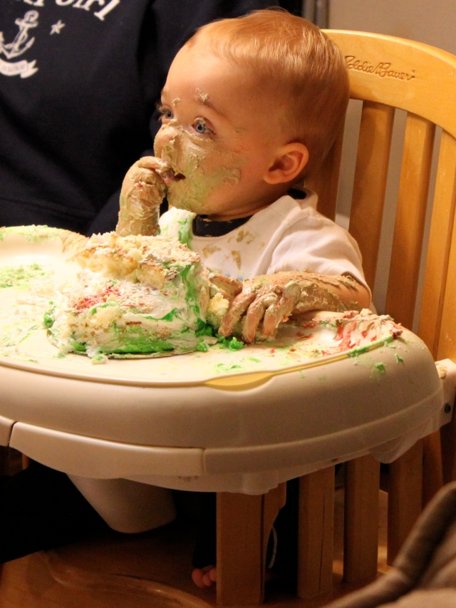 Liam with cake mess