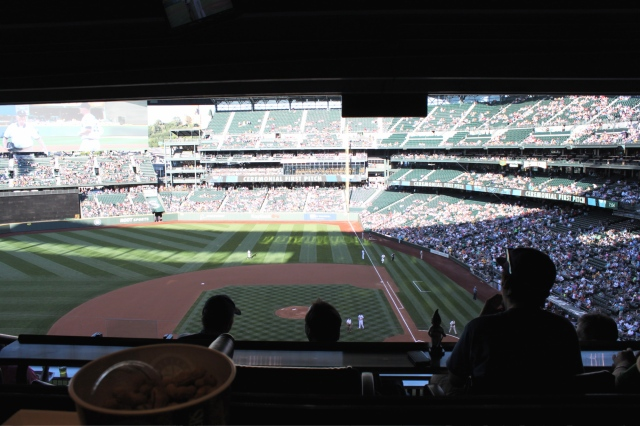 Watching Mariners game with Nicholas and Tucker