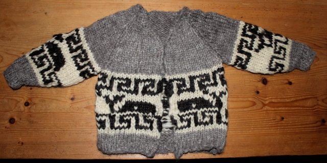 Whale sweater with collar and button holes not yet knitted