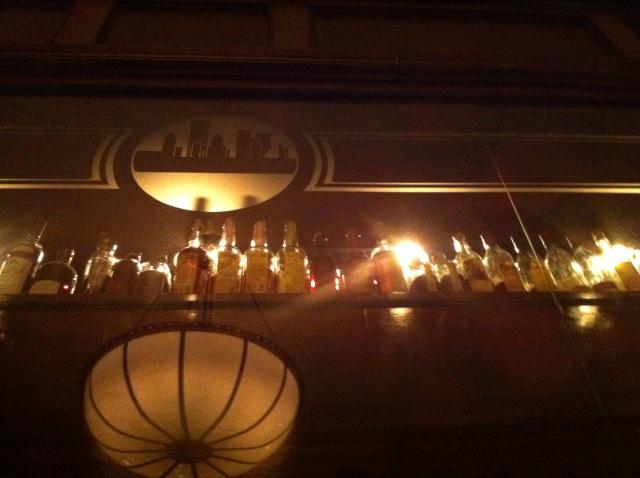 Behind bar at dinner
