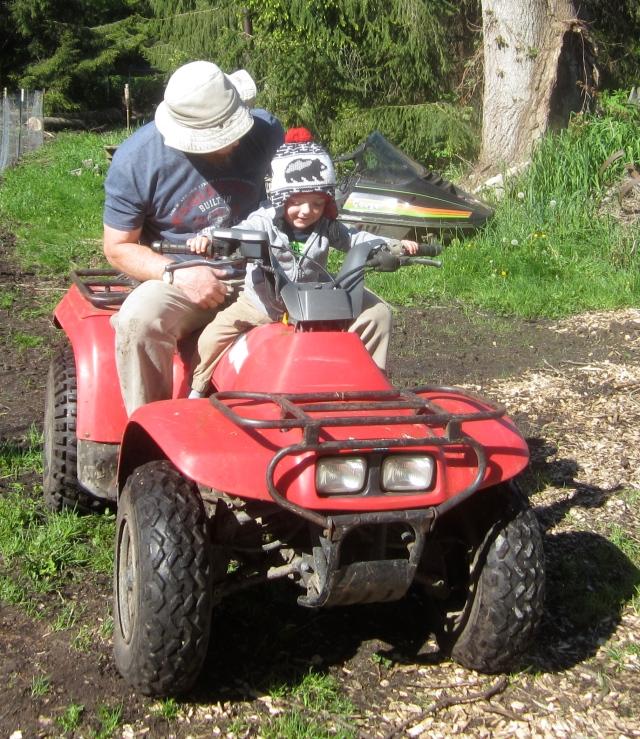Tom and William on quad