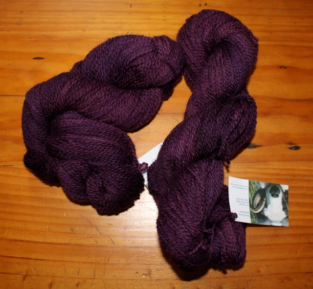 2 ply sport weight brown Shetland yarn from Daphnie, Hansel, Huey, Jemima, Miss Lizzie, Lou and Shaun dyed with Greener Shades purple ~4 oz 250 yards $10