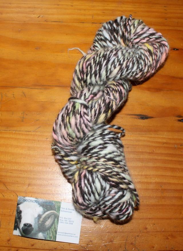 handspun Easter egg dyed white Satin Angora fiber plied with black Shetland handspun, 80 yards, ~2 oz, $18