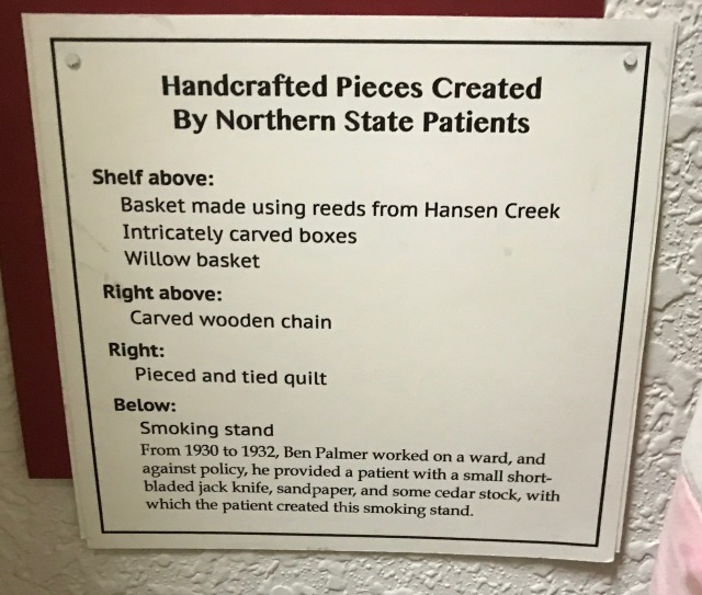 information about handcrafted pieces from Northern State Hospital patients