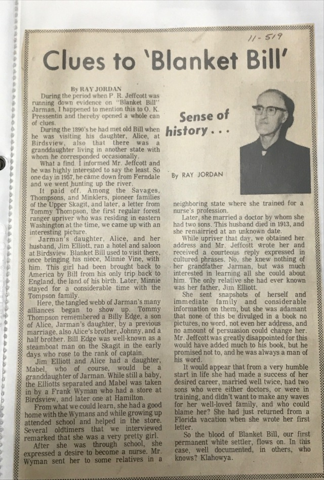 Ray Jordan article on Blanket Bill