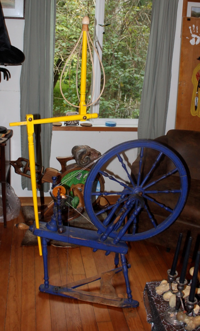 spinning wheel with new distaff