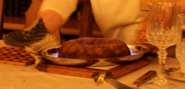 Amy's pear ginger pudding with flames