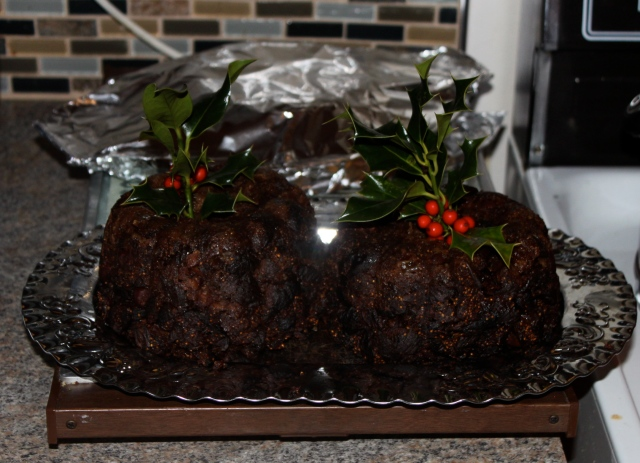 figgy puddings about to be served Christmas Eve