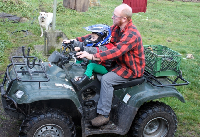 William and Tom going for a ride with Steve watching
