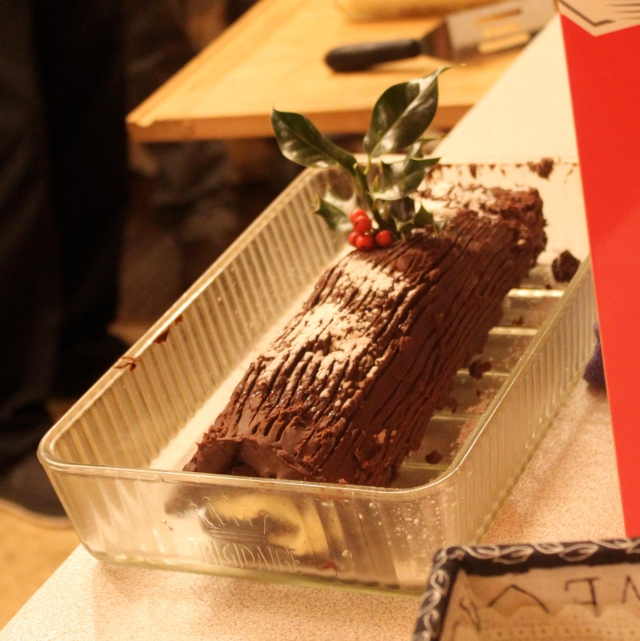 Yule Log about to be served for dessert