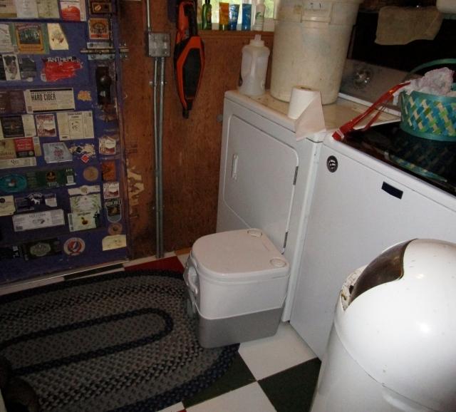 toilet in laundry room