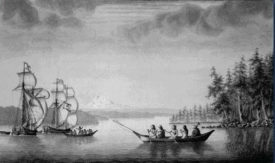 Samish people are depicted in 1792 paddling