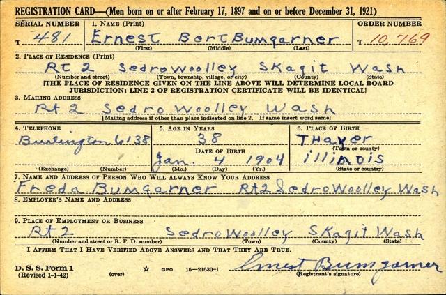 U.S. WWII Draft Cards Young Men, 1940-1947 for Ernest Bert Bumgarner