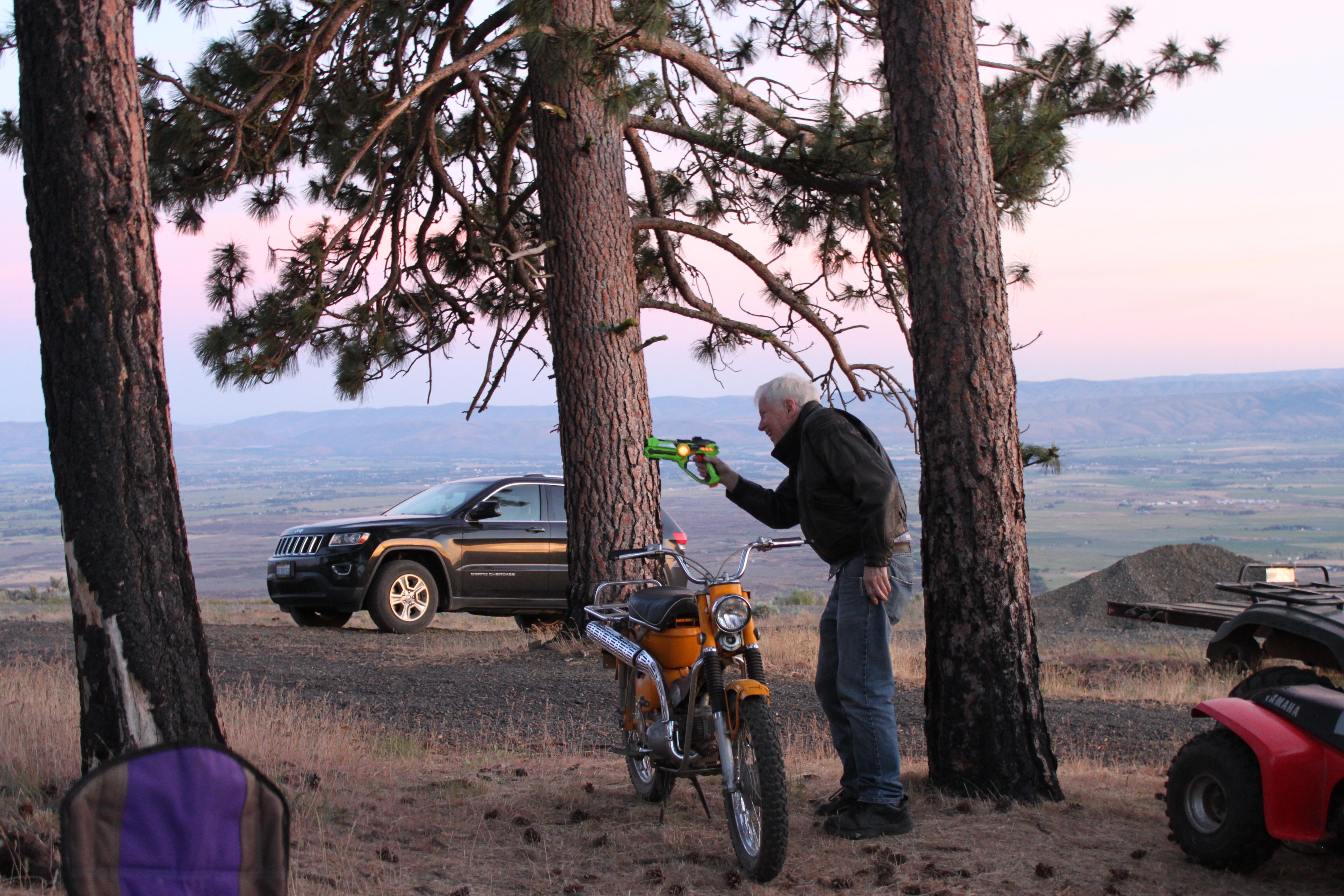 Dad playing laser tag