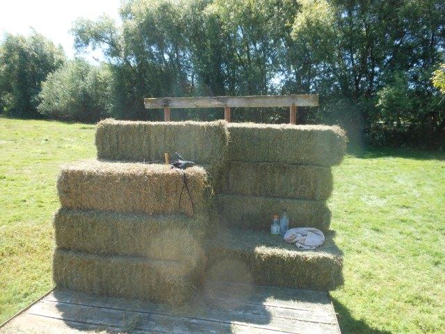 shaded hay bench